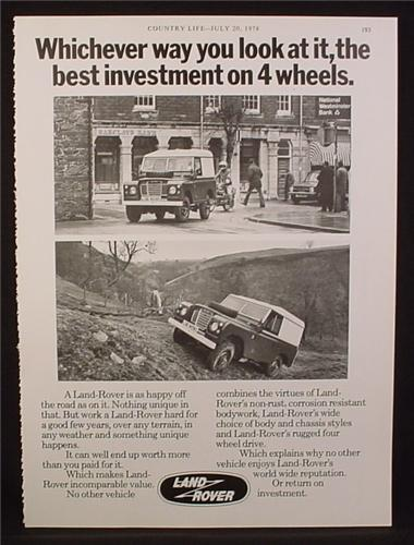 Magazine Ad for Land Rover, Best Investment on 4 Wheels, Great Britain, 1978