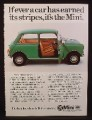 Magazine Ad for Mini 1000 Car, Green, Side View, Open Door, Great Britain, 1978