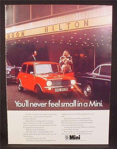 Magazine Ad for Austin Mini Car, Red, Parked Outside London Hilton, Great Britain, 1978