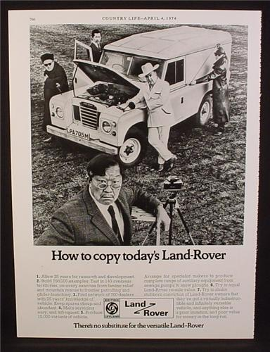 Magazine Ad for Land Rover, How to Copy, Great Britain, 1974