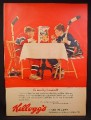 Magazine Ad for Kellogg's Corn Flakes Cereal, 2 Boys in Hockey Uniforms, 1963