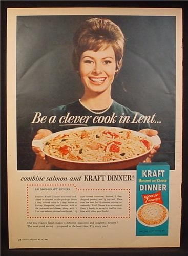 Magazine Ad for Kraft Dinner, Be A Clever Cook In Lent, Combine Salmon, 1963