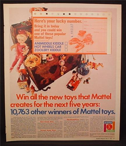 Magazine Ad for Mattel Toys Contest, Entry Still Attached, Kiddles, 1969