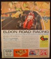Magazine Ad for Eldon Road Racing Slot Car Set, Eldon Tinyrooms, 1966
