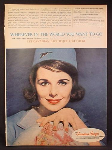 Magazine Ad for Canadian Pacific Airlines, Stewardess with Globe, 1963