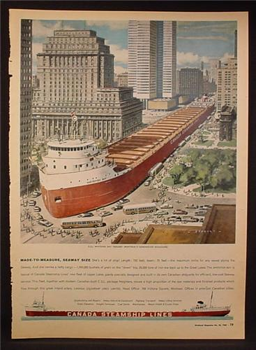 Magazine Ad for Canada's Steamship Lines, Whitefish Bay Ship on Street in Montreal, 1963