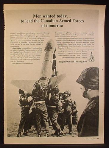 Magazine Ad for Canadian Armed Forces, Military Recruitment, ROTP, 1965