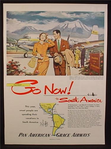 Magazine Ad for Pan American Grace Airways, Flights to South America, 1963