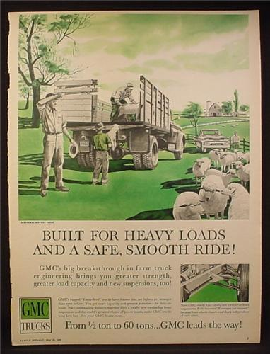 Magazine Ad for GMC Farm Trucks, Loading Sheep Onto A Truck, 1960