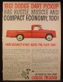 Magazine Ad for 1961 Dodge Dart Pickup Truck, Handsomest Hired Hand, 1960