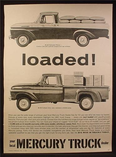 Magazine Ad for Mercury Trucks, M-100 4 Wheel Drive, M-100 Styleside Pickup, 1961