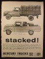 Magazine Ad for Mercury Trucks, M-100, M-350 with Stake Body, 1961