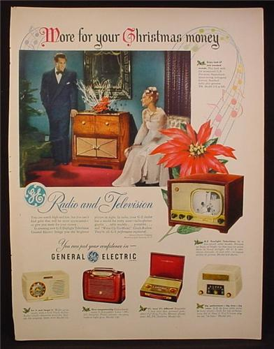 Magazine Ad for GE General Electric Radios & TV, 6 Models, 1948