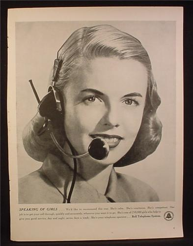 Magazine Ad for Bell Telephone, Speaking of Girls, Operator, 1948