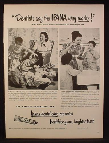 Magazine Ad for Ipana Tooth Paste, Connie Dickman Powers Model, Celebrity Endorsement