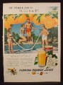 Magazine Ad for Florida Orange Juice, Teens in Bathing Suits Jumping Rope, 1948