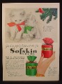 Magazine Ad for Sofskin Beauty Crème, Gift Wrapped In Silky Taffeta, Kittens, 1948