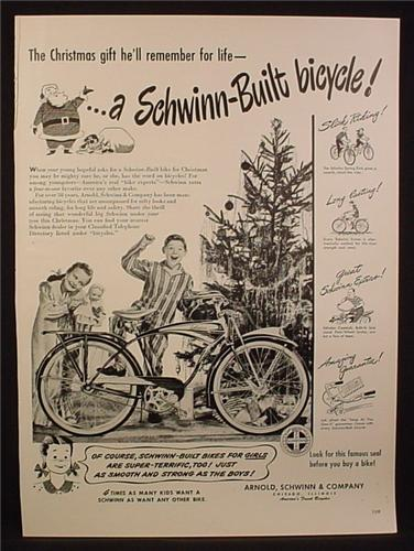 Magazine Ad for Schwinn Bicycle, Schwinn-Built, Bike, Christmas, 1948