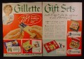 Magazine Ad for Gilette Gift Sets, Shaving, Razor, Boxed Sets, 1948, Double Page Ad