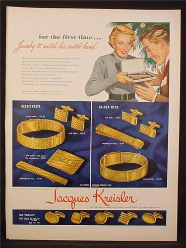 Magazine Ad for Jacques Kresiler Jewelry, Watch Bands, Cuff Links, Belt Buckle, 1948