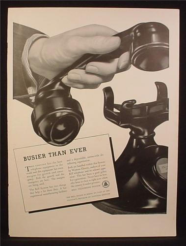 Magazine Ad for Bell Telephone Old Style Phone, Busier Than Ever, 1941
