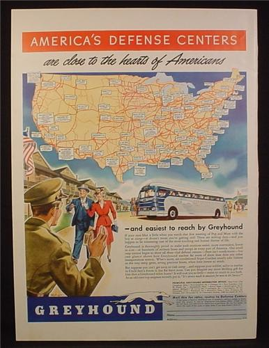 Magazine Ad for Greyhound Bus Lines, Blue & Silver Bus, Map with Routes, 1941