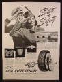 Magazine Ad for Fish Safti-Flight Tires, Salute To Safety, 1941