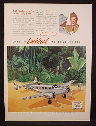 Magazine Ad for Lockheed Aircraft Corp, Colonial Defense of The East Indies, 1941