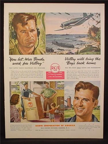 Magazine Ad for RCA, WWII, Radio Equipment for the Invasion, 1944