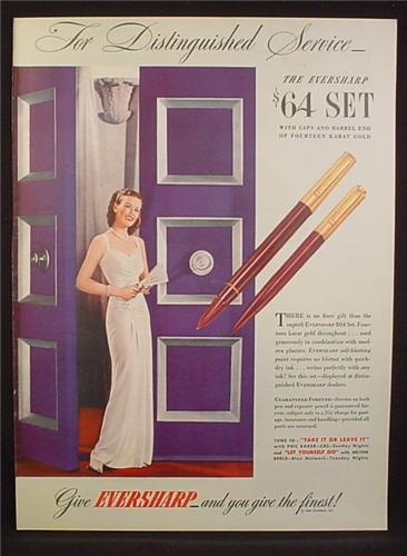 Magazine Ad for Eversharp Pen & Pencil Set, 1944, 10 1/2 by 14