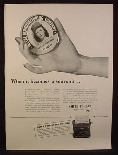 Magazine Ad for Smith Corona Typewriters, Badge ID for Woman in Manufacturing Plant 1944