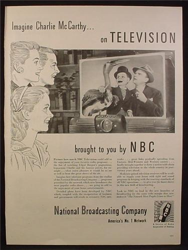 Magazine Ad for National Broadcasting Company, NBC, Charlie McCarthy Show, 1944