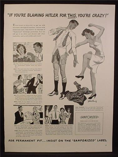 Magazine Ad for Sanforized, Husband & Wife Fight, Blaming Hitler for This, WWII, 1942