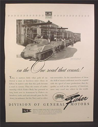 Magazine Ad for Tanks Built by Fisher, GM Arms For Victory, WWII, 1942
