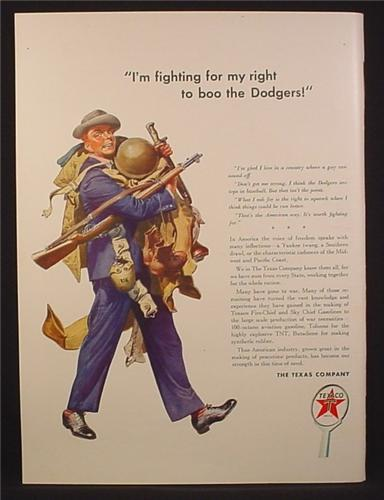 Magazine Ad for Texaco, Recruit, I'm Fighting For My Right To Boo The Dodgers, WWII, 1942