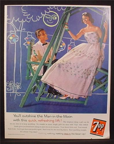Magazine Ad for 7UP Soft Drink, Seven Up, Couple Dressed For a Dance, Swing, 1960