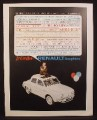 Magazine Ad for Renault Dauphine Car, White Sunroof, Le Car Hot, 1960
