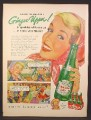 Magazine Ad for Canada Dry Ginger Ale, Bottle, Carton, Girl With Kerchief, 1954