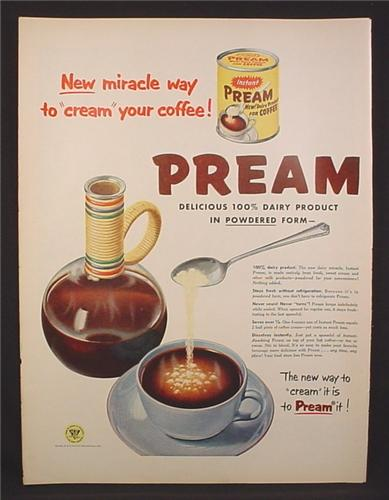 Magazine Ad for Pream Dairy Product for Coffee, New Way To Cream It, 1954