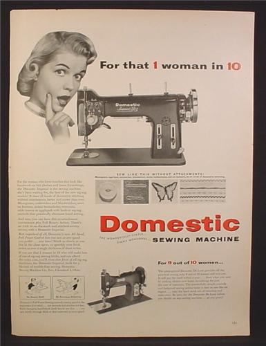 Magazine Ad for Domestic Imperial ZZ Sewing Machine, 1954