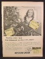 Magazine Ad for Western Union Telegrams, Placed on Christmas Tree, 1954