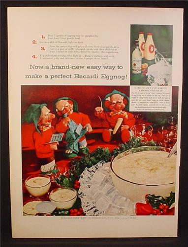 Magazine Ad for Baccardi rum, Eggnog, 3 Elves or Gnome Figures, Elf, 1954