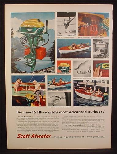 Magazine Ad for Scott-Atwater 16 HP Bait-A-Matic Outboard Motor, 1956