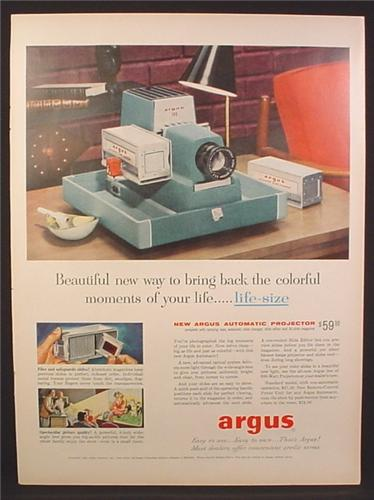 Magazine Ad for Argus Automatic Slide Projector, Blue, 36 Slide magazine, 1956