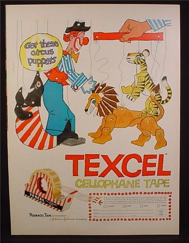 Magazine Ad for Texcel Cellophane Tape, Circus Puppets, 1956