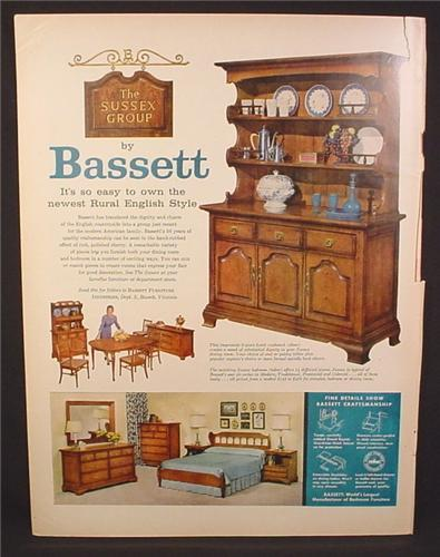 Magazine Ad for Bassett Furniture, Rural English Style, Hutch, Bedroom Set, 1958