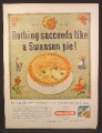 Magazine Ad for Swanson Frozen Pies, Crosstitch Sampler, 1958