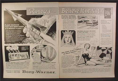 Magazine Ad for Borg-Warner, Ripley's Believe It Or Not, Missile, Washer, Saw, 1958