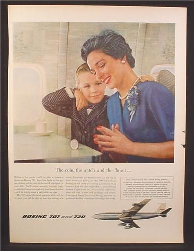 Magazine Ad for Boeing 707 and 720 Jet Airplanes, Mom & Son, 1958