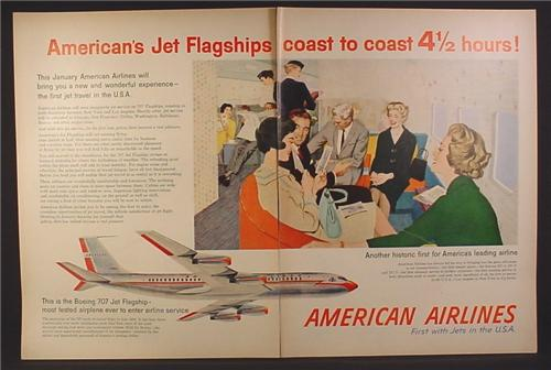 Magazine Ad for American Airlines, First Use of Being 707 Airplane, No N7501A, 1958